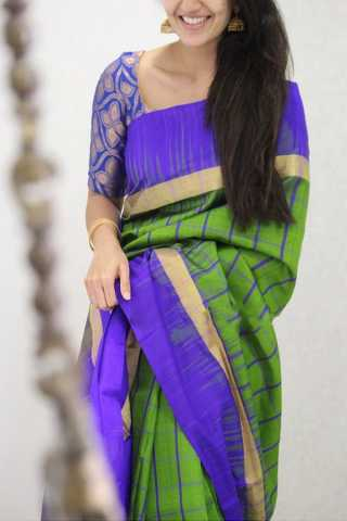 Capricious Green Colored Soft Silk Party Wear Saree