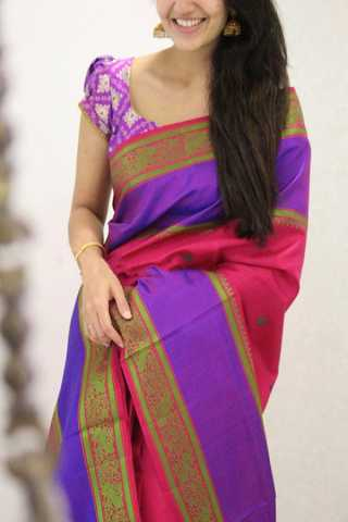 Splendid Pink Colored Soft Silk Party Wear Saree