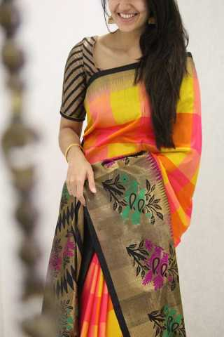 Intricate Multicolored Designer Soft Silk Party Wear Saree