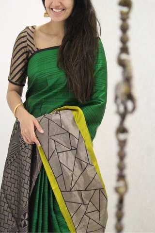 Groovy Green Colored Designer Soft Silk Party Wear Saree
