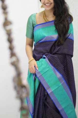 Snazzy Blue Colored Designer Lining Pattern Soft Silk Party Wear Saree