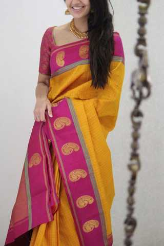 Trendy Yellow Colored Designer Soft Silk Party Wear Saree