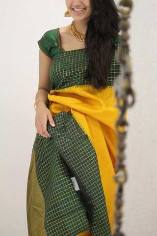 Beautiful Yellow Colored Green Border Designer Soft Silk Party Wear Saree