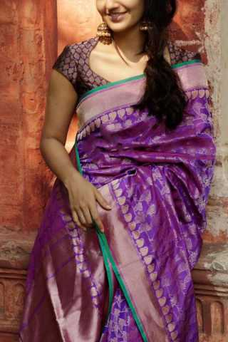 Mesmerising Purple Colored Soft Silk Party Wear Saree