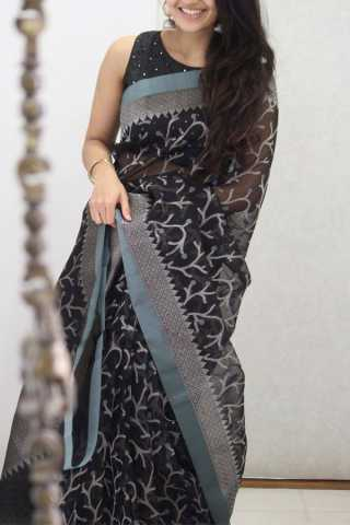Demanding Black Colored Soft Silk Party Wear Saree