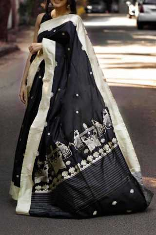 Blooming Black Colored Soft Silk Party Wear Saree