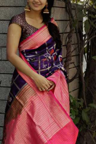 Impressive Purple - Pink Colored Soft Silk Party Wear Saree