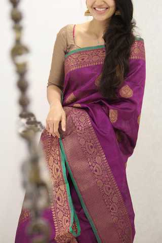Glowing Magenta Pink Colored Soft Silk Party Wear Saree