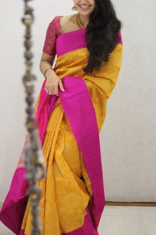 Excellent Yellow Colored Soft Silk Party Wear Saree