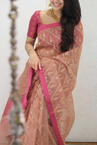 Elegant Pink Shaded Soft Silk Party Wear Saree