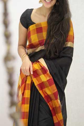 "Black Colored Silk Saree For Women - CND1837 30"""
