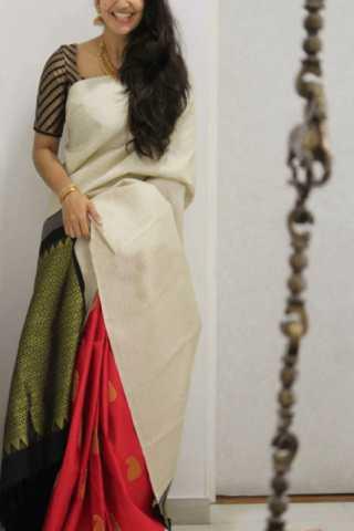 Majesty White  Color Soft Silk Saree - CND1838