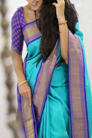Blue Colored Silk Saree For Women - CND1839
