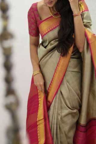 Beige-Red Colored Silk Saree For Women - CND1840