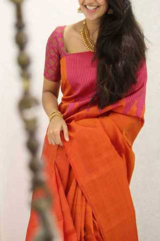 Orange Colored Silk Saree For Women - CND1843