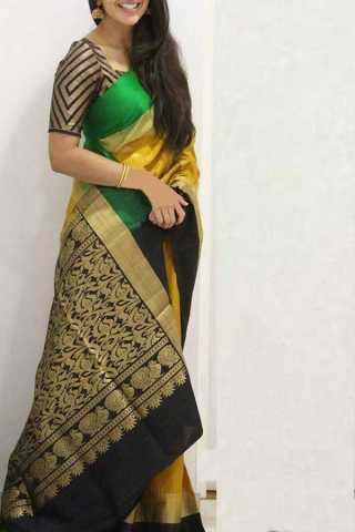 Yellow-Black Colored Silk Saree For Women - CND1844