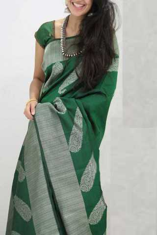 Green Colored Silk Saree For Women - CND1852
