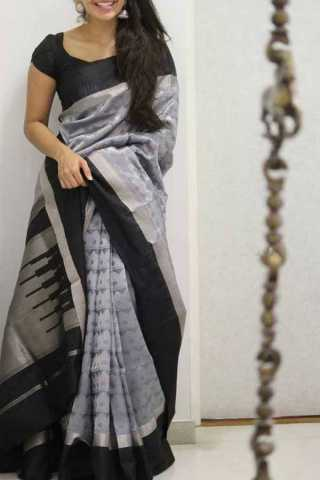 Designer Black Blouse Silk Saree For Women - CND1861