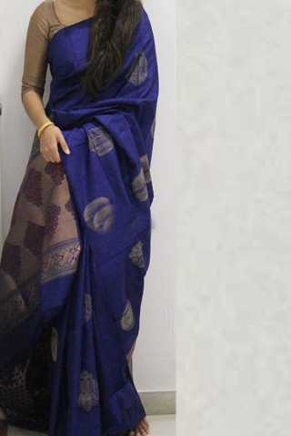 Blue Colored Silk Saree For Women - CND1867