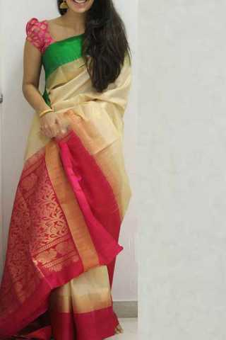 Cream Colored Pink Border Silk Saree For Women - CND1868 30""