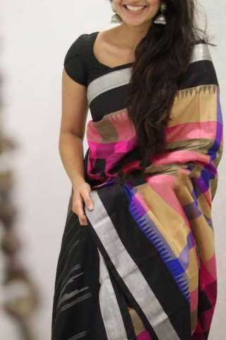 Multi Colored Black Border Silk Saree For Women - CND1869