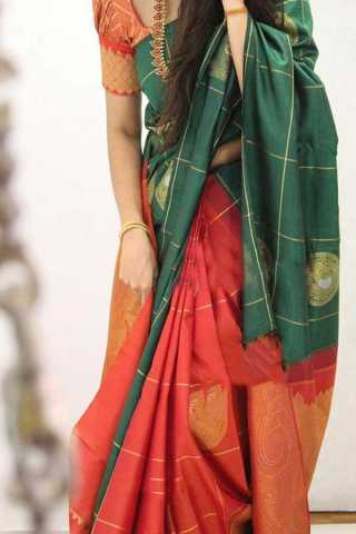 Green Colored Silk Saree For Women - CND1871
