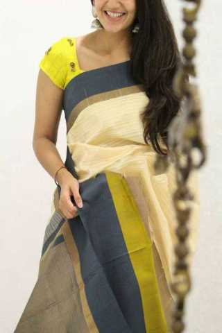 Cream Colored Yellow Blouse Silk Saree For Women - CND1872