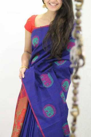 Blue Colored Elephant Pattern Silk Saree For Women - CND1875