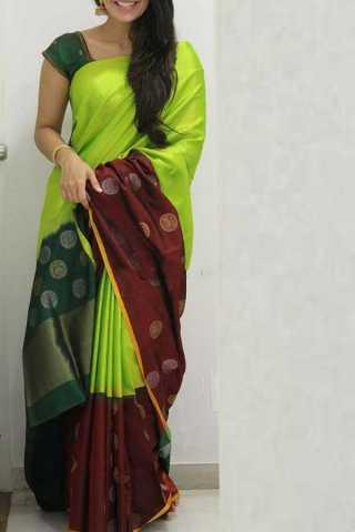 Light Green Colored Silk Saree For Women - CND1877