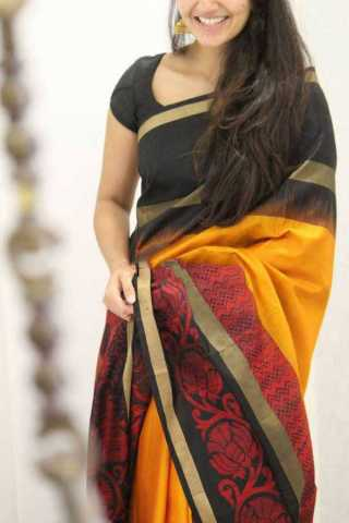 Yellow Colored Silk Saree For Women - CND1882 30""