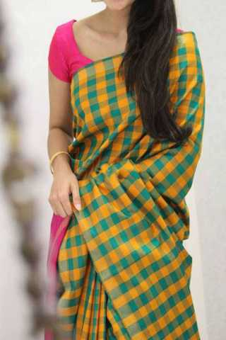 Yellow-Pink Checked Pattern Silk Saree For Women - CND1886