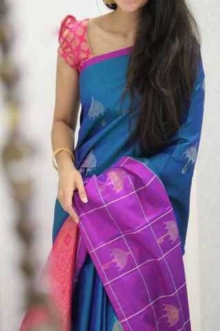 Blue Colored Silk Saree For Women - CND1887