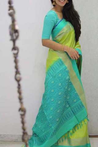 Rama Green Colored Silk Saree For Women - CND1892