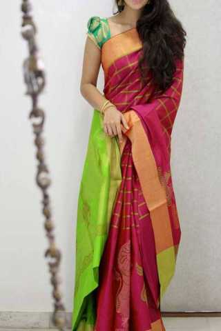Beautiful Pink Green Colored Silk Saree For Women - CND1896