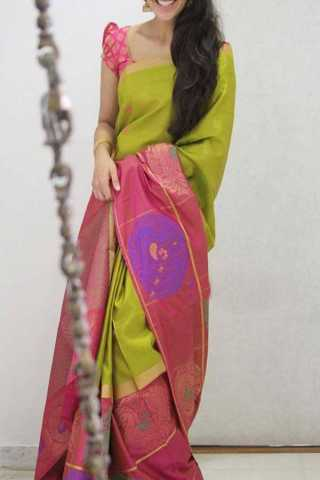 Green Pink Colored Silk Saree For Women - CND1901