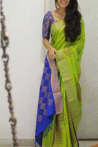 Green Blue Colored Silk Saree For Women - CND1902