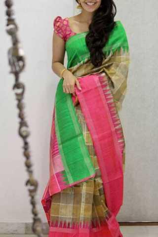 Beige Green Colored Silk Saree For Women - CND1909