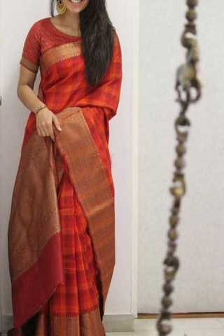 Red Colored Silk Saree For Women - CND1914