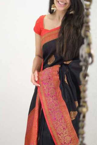 Black Colored Silk Saree For Women - CND1915