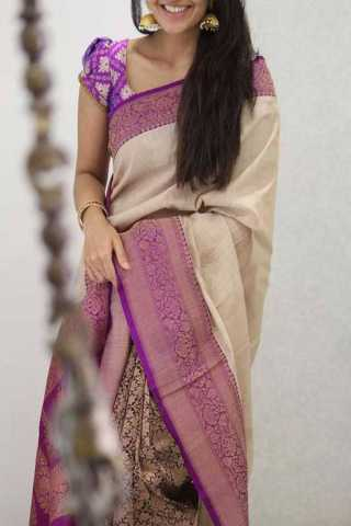 White Colored Magenta Border Silk Saree For Women - CND1923
