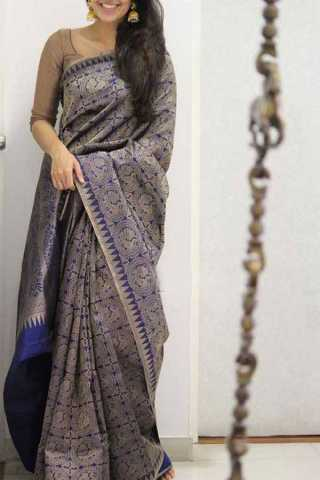 Blue Colored Silk Saree For Women - CND1926