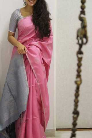 Pink Colored Silver Border Silk Saree For Women - CND1933