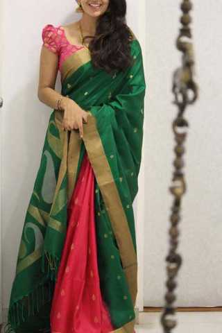 Green Pink Colored Silk Saree For Women - CND1937