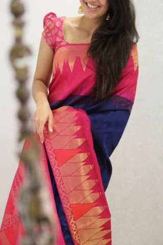 Blue Pink Colored Silk Saree For Women - CND1938