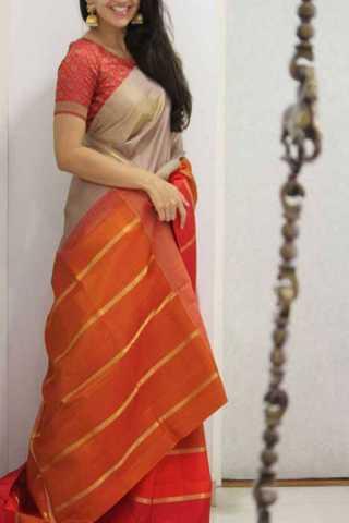 Beige Colored Orange Pallu Silk Saree For Women - CND1940