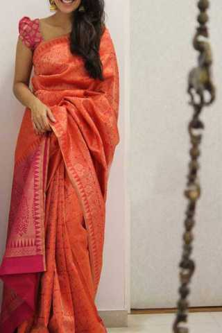 Orange Colored Silk Saree For Women - CND1941