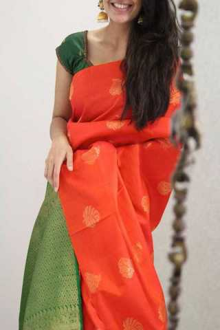 Orange Colored Green Pallu Silk Saree For Women - CND1944