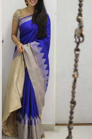 Blue Colored Silk Saree For Women - CND1945