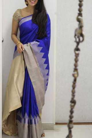 Blue Colored Silk Saree For Women - CND1945