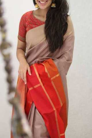 Beige Colored Red Border Silk Saree For Women - CND1947